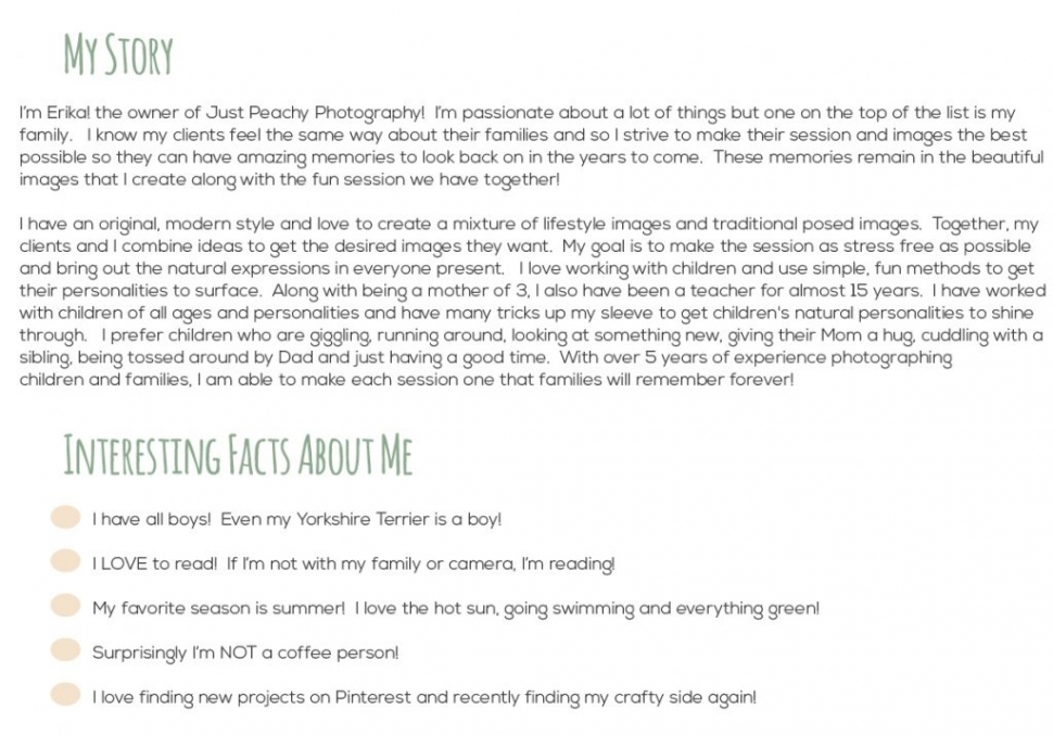 about me page