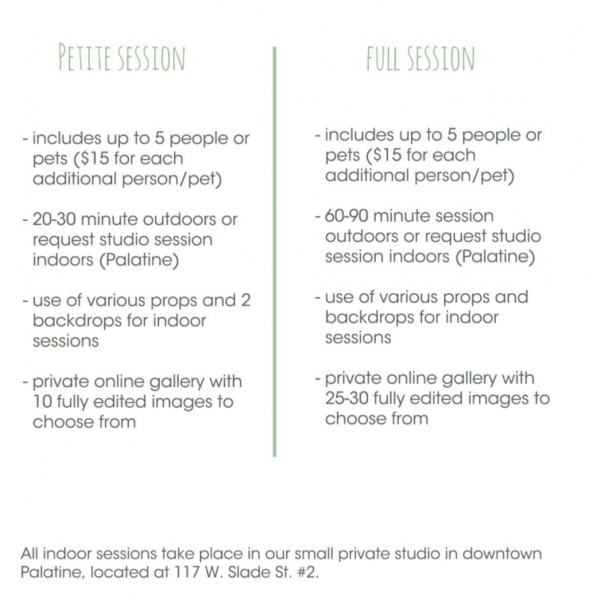 type of sessions menu